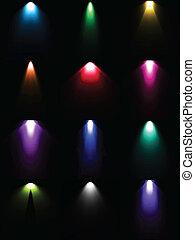 ensemble, lumière colorée, light., sources, lampe, vecteur
