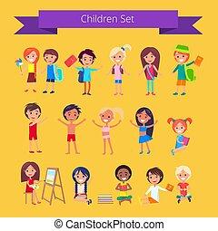 ensemble, lumière, isolé, illustration, orange, enfants