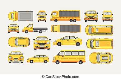 ensemble, lumière, voitures, minibus, côté, caravane, livraison, sommet, camion, hayon, sedan, camion, devant, vue