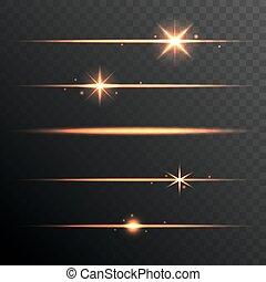 ensemble, lumières, flamme, arrière-plan., incandescent, ...