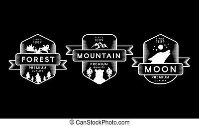 ensemble, lune, forêt, montagne, collection, logo