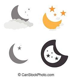 ensemble, lune, icônes