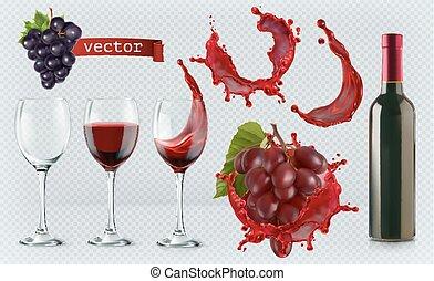 ensemble, lunettes, 3d, réaliste, vecteur, éclaboussure, grapes., vin., bouteille, rouges, icône