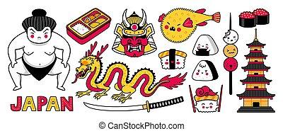 ensemble, lutteur, insignes, autocollants, japonaise, dragon, samouraï, prints., sushi., sumo, grand, symboles, fish, fugu, pièces, epingles, masque