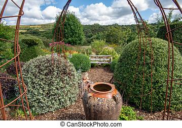 ensemble, luxuriant, banc jardin