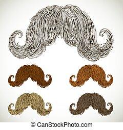 ensemble, luxuriant, moustache, soigné