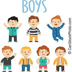 ensemble, mâle, 7, caractères