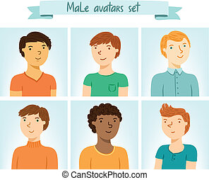 ensemble, mâle, avatars, caractères, 6