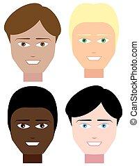ensemble, mâle, faces