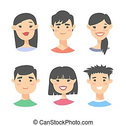 ensemble, mâle jeune, asiatique féminin
