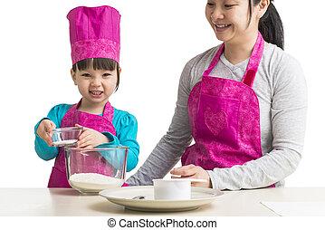ensemble, mère, cuisine, fille