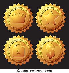 ensemble, médaille, or