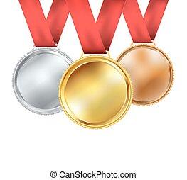 ensemble, médailles, vecteur, ruban rouge, white.