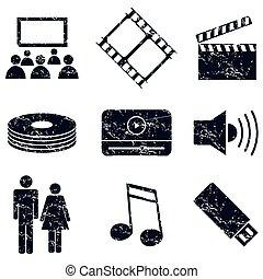 ensemble, média, divertissement, grunge, icônes