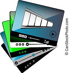 ensemble, média, isolé, joueur, vidéo, film, interface