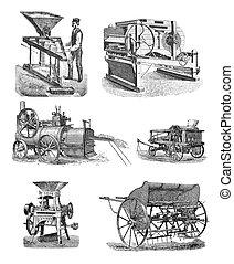 ensemble, machinerie, agricole