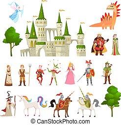 ensemble, magie, moyen-âge, roi, characters., chevalier, conte fées, royal, dragon, fantasme, vecteur, licorne, château, princes