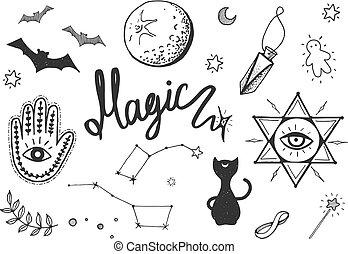 ensemble, magie, objets