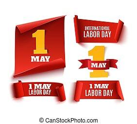 ensemble, mai, main-d'œuvre, banners., cinq, réaliste, jour, rouges