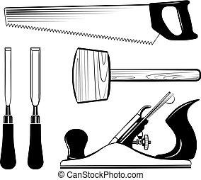 ensemble, maillet, avion, travail bois, ciseau, vector., saw., charpenterie, outils, cric