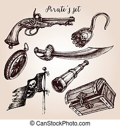 ensemble, main, éléments, conception, dessiné, pirate