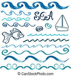 ensemble, main, éléments, conception, mer, dessiné