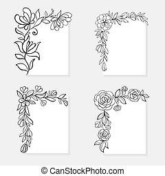 ensemble, main, borders., noir, dessiné, floral, coin, blanc