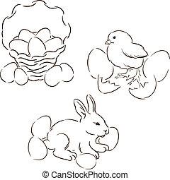ensemble, main, characters., dessiné, paques, heureux