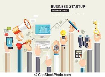 ensemble, mains affaires, haut, début, vecteur, services., conceptuel, design., illustrations.