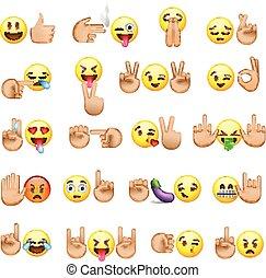 ensemble, mains, smiley, icônes, faces, emoji
