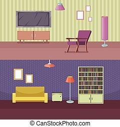 ensemble, maison, accessoires, illustration, vecteur, horizontal, bannière, meubles