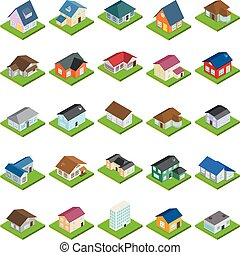 ensemble, maison, isométrique, style, icônes