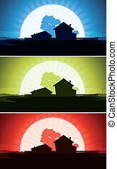 ensemble, maison, ranch, pays, sauvage, paysage