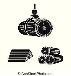 ensemble, maison, symbole, matériel, web., symbole., ciment, vecteur, illustration, stockage