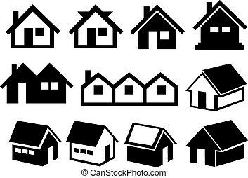 ensemble, maison, toit, noir, pignon, blanc, icône