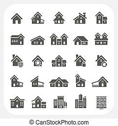 ensemble, maisons, immobiliers, icônes