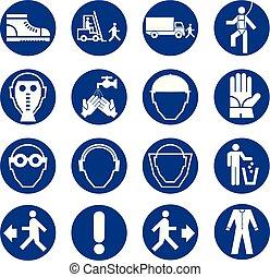 ensemble, mandatory, work., industrie, equipment., collection, équipement, sûreté protection, santé, construction, signs.