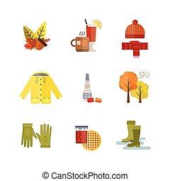 ensemble, manteau, imperméable, chapeau, feuilles, chauffé, arbre, chaussettes, automne, temps, gants, illustration, bottes, automne, collection, froid, vin, parka, écharpe, vêtements