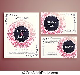 ensemble, mariage, conception, gabarit, invitation, carte