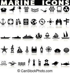 ensemble, marin, icônes