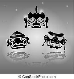 ensemble, masques, africaine