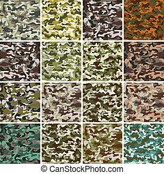ensemble, mega, modèle, seamless, camouflage, vecteur