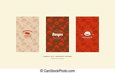 ensemble, menu restaurant, couverture, seamless, hamburger, modèle