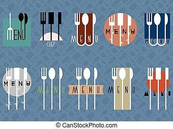 ensemble, menu restaurant, vecteur, conception, élégant