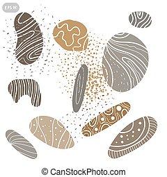 ensemble, mer, vecteur, stones., illustration, icône