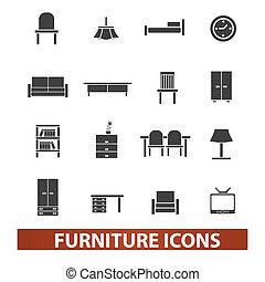 ensemble, meubles, vecteur, icônes