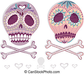 ensemble, mexicain, crâne, sucre