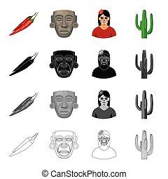 ensemble, mexicain, mexique, masque, monochrome, style, ancien, icônes, girl, noir, cactus., stockage, symbole, web., collection, illustration, piment, dessin animé, contour, poivre, pays, vecteur