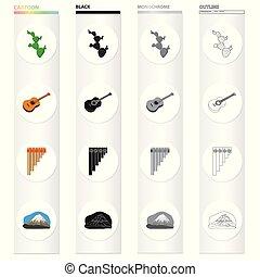 ensemble, mexicain, mexique, monochrome, mountain., style, icônes, guitare, instrument, noir, cactus, moule, stockage, flûte, symbole, web., illustration, collection, dessin animé, contour, pays, vecteur, vent