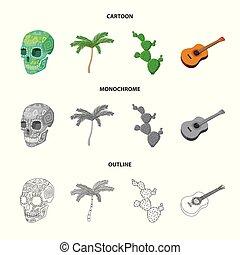 ensemble, mexicain, mexique, national, arbre, paume, cactus, style, dessin animé, icônes, guitare, stockage, symbole, web., collection, illustration, instrument, crâne, pays, vecteur, vert, spines., image